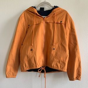 Vintage orange zip up utility jacket windbreaker